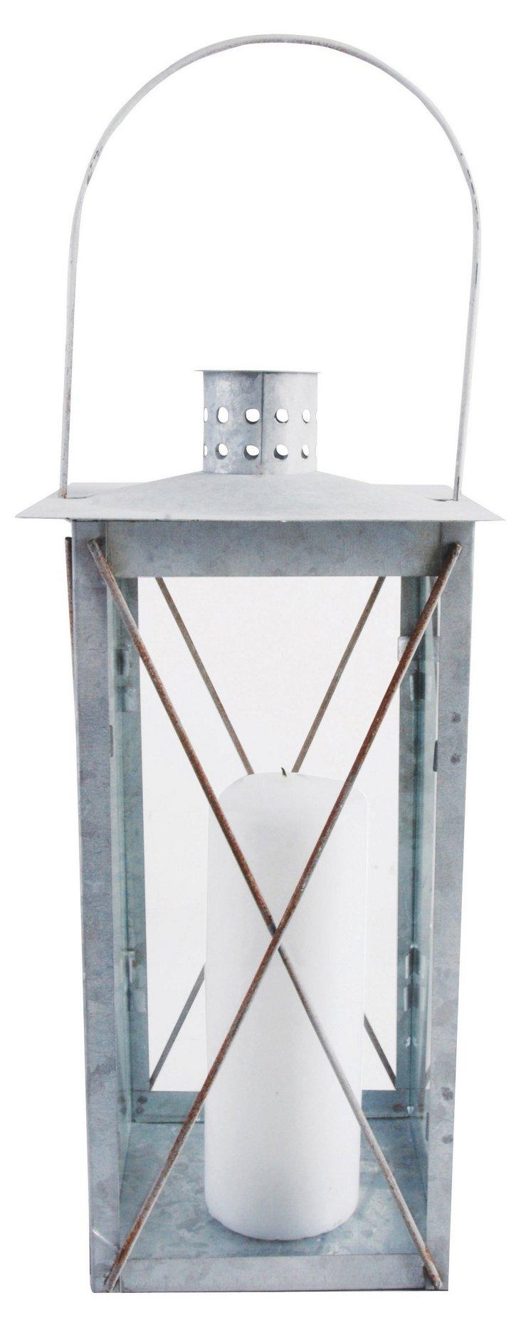 "19"" Timeless Old Zinc Lantern, Silver"