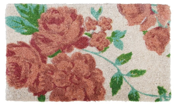 Rose-Print Coconut Doormat