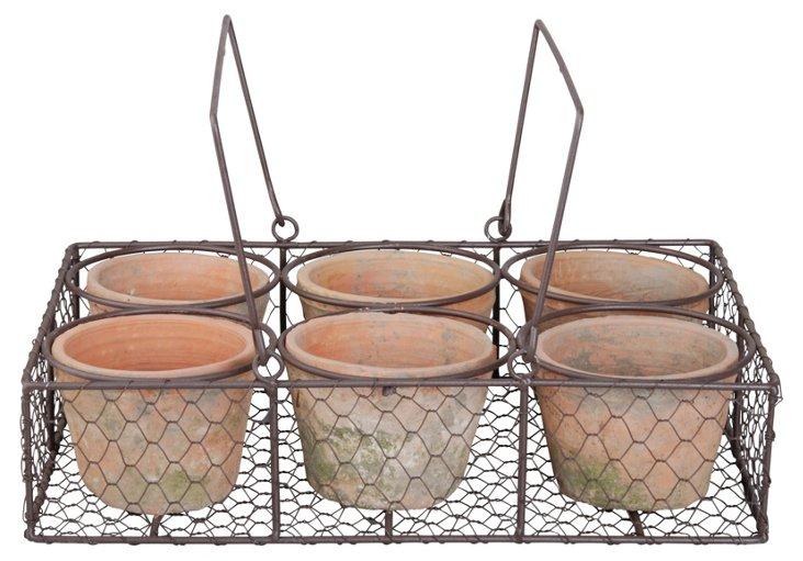 S/6 Pots w/ Wire Basket, Brown