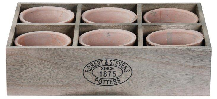 S/6 Pots w/ Wooden Holder