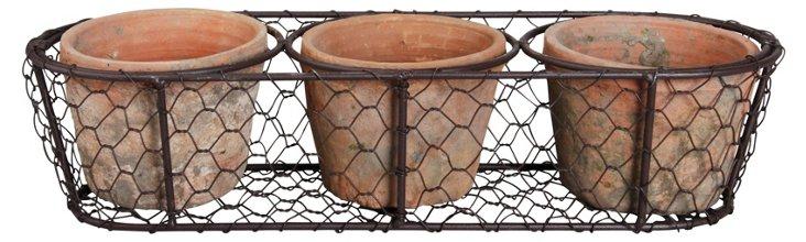 S/3 Pots w/ Wire Basket