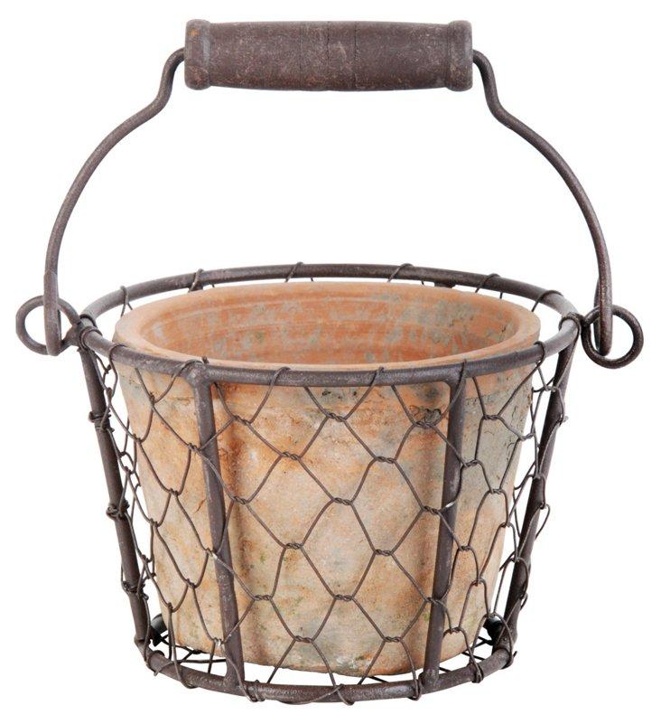 S/2 Terracotta Pots w/ Metal Basket