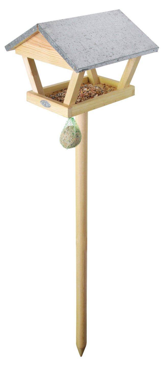 Wooden Bird Feeder on Stake, Natural