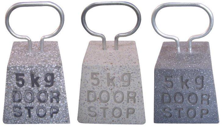 Asst. of 3 Concrete Door Stops, Gray