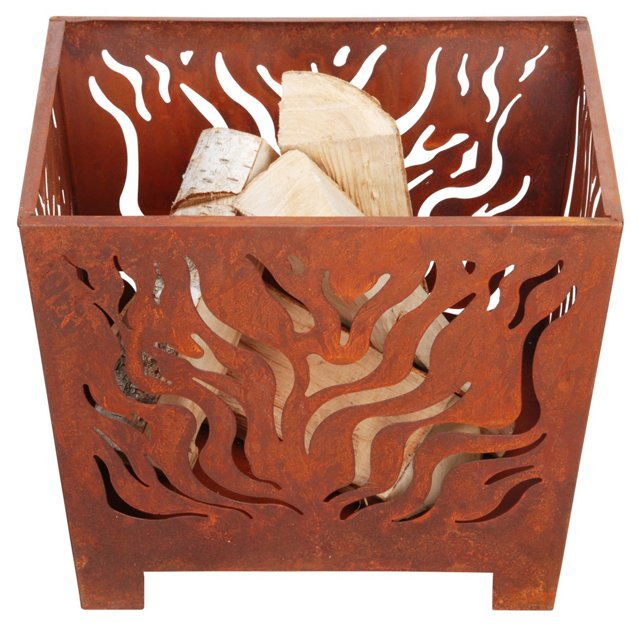 """15"""" Flames Fire Basket w/ Legs, Rust"""