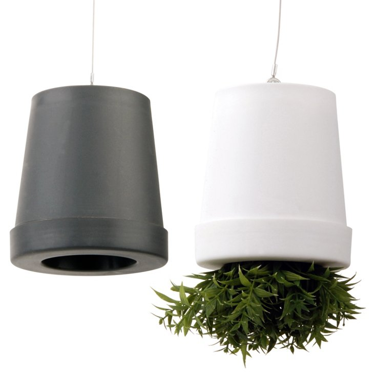 "S/2 4"" Hanging Pots, Gray/White"