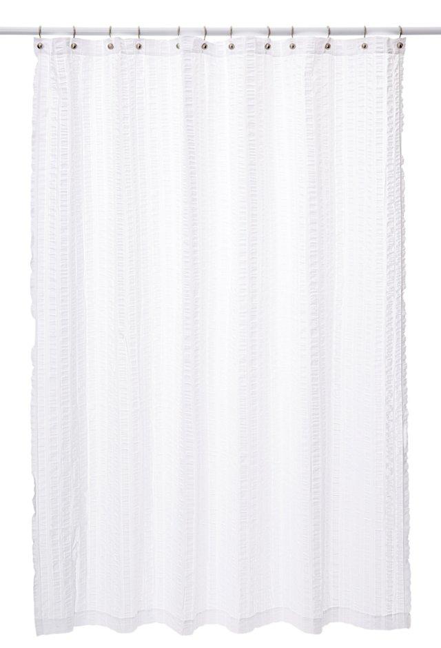 Seersucker Shower Curtain, White