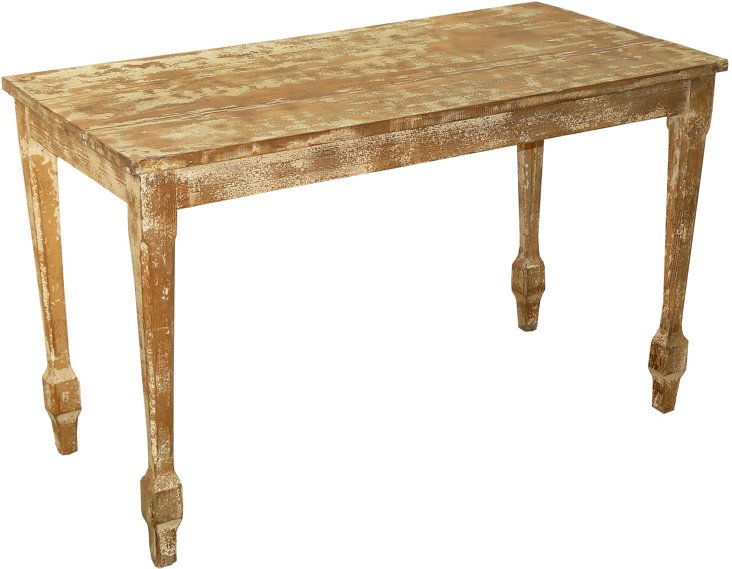 1920s Distressed Green Console Table