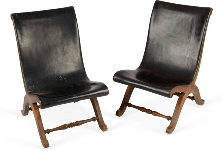 Low Leather Sling Chairs,Pair