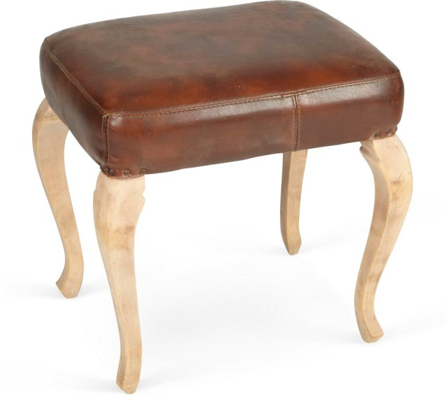 1950s Found Leather Stool