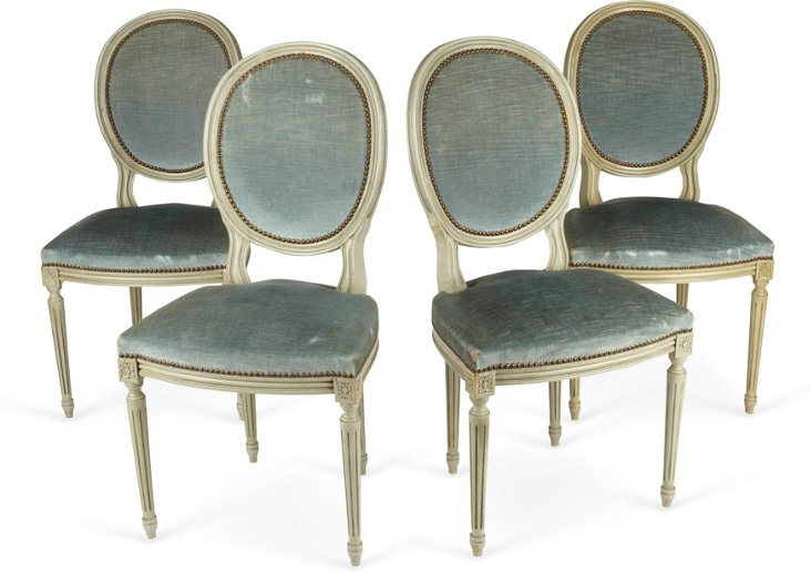 Vintage Tiffany Blue Chairs, Set of 4