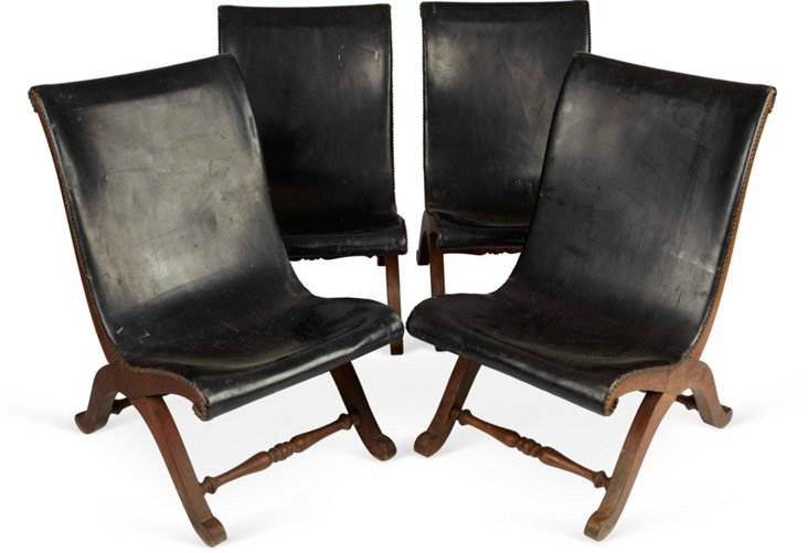 Low Leather Sling Chairs, Set of 4
