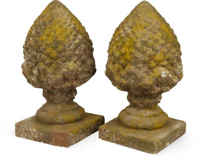 Artichoke Finials, Pair