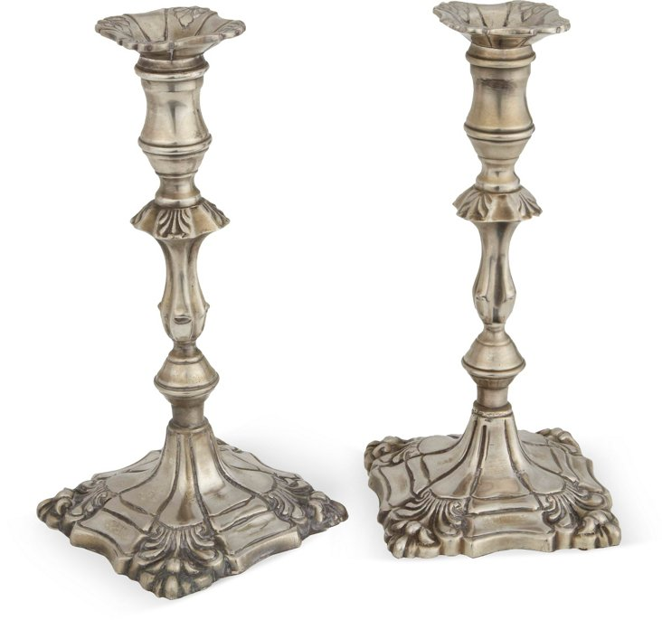 Silverplate Candlesticks, Pair