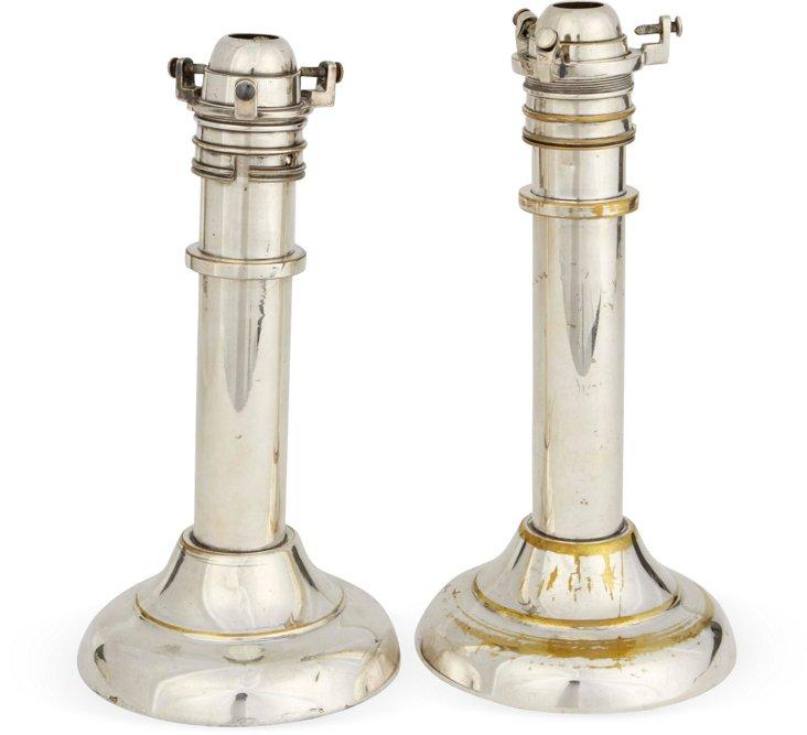 Ship Silverplate Candlesticks, Pair