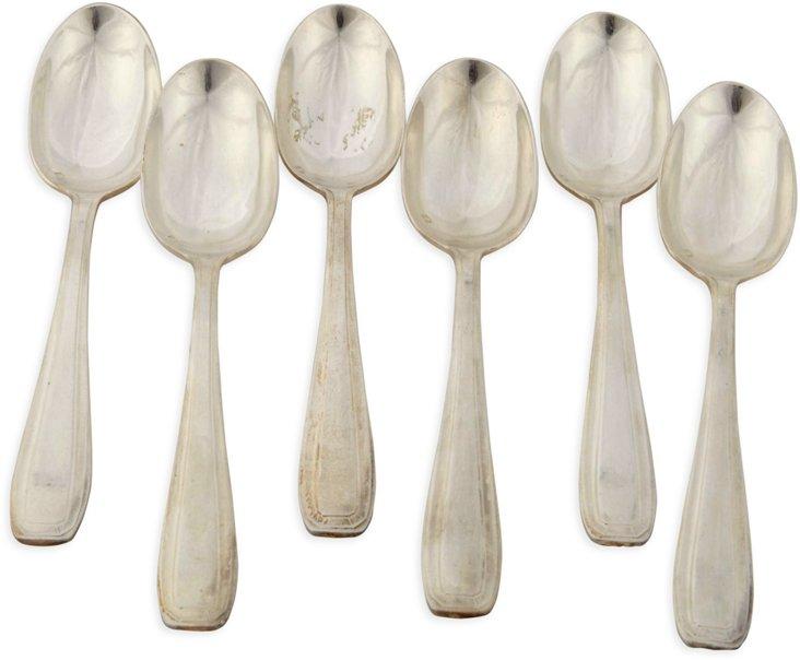 Silverplate Dinner Spoons, Set of 6, IV