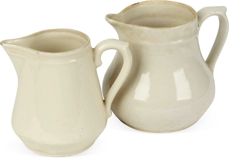 French Ceramic Pitchers, Set of 2, II