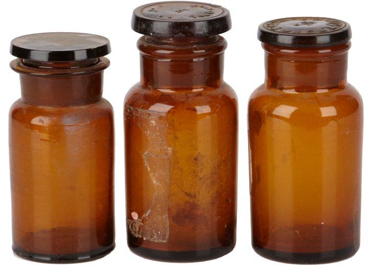Amber Pharmacy Bottles, Set of 3