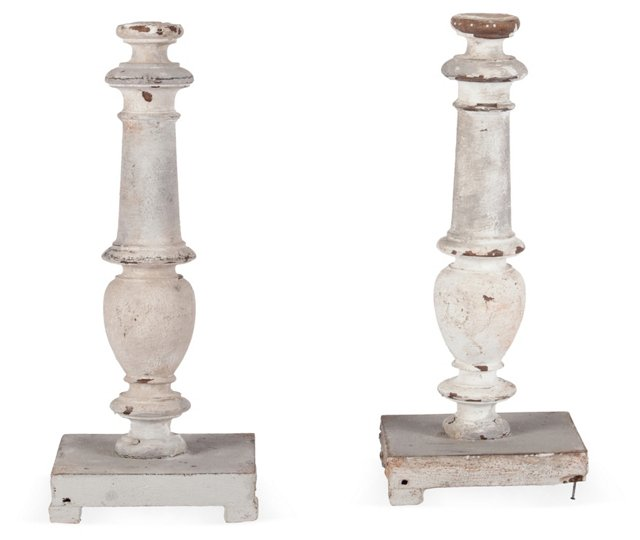 1850s French Wood Candlesticks, Pair