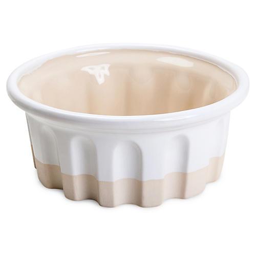 Small Round Baker, White/Beige