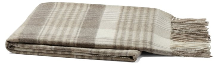 Plaid Cashmere-Blend Throw, Natural