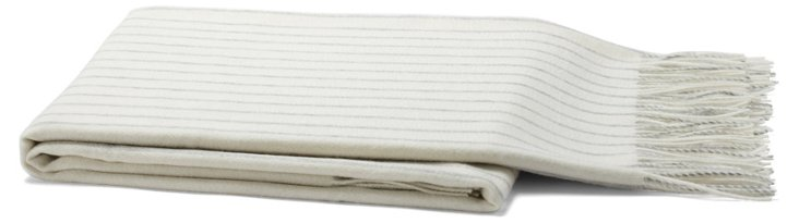Striped Cashmere-Blend Throw, Gray