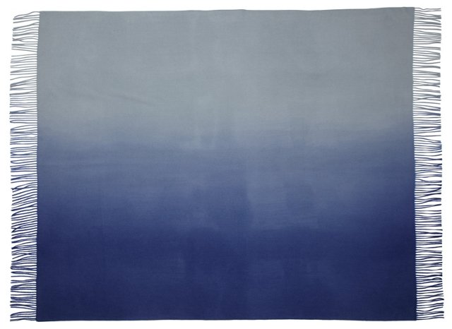 Ombré Cashmere-Blended Throw, Indigo
