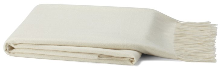 Solid Cashmere-Blend Throw, Ivory