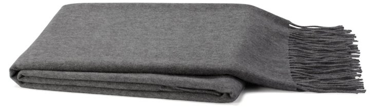 Solid Cashmere-Blend Throw, Heather Gray