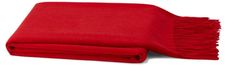Solid Cashmere-Blend Throw, Claret