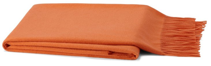 Solid Cashmere-Blend Throw, Orange
