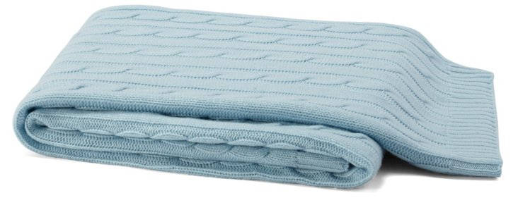 Cable-Knit Cashmere-Blend Throw, Blue