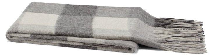 Cashmere-Blend Check Throw, Gray