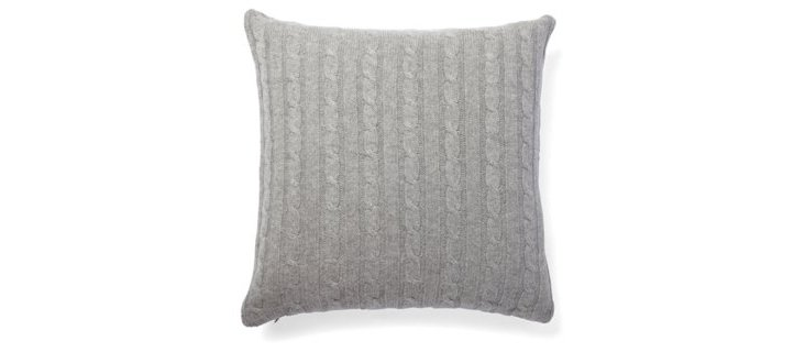 Cable Knit Pillow, Heather Gray