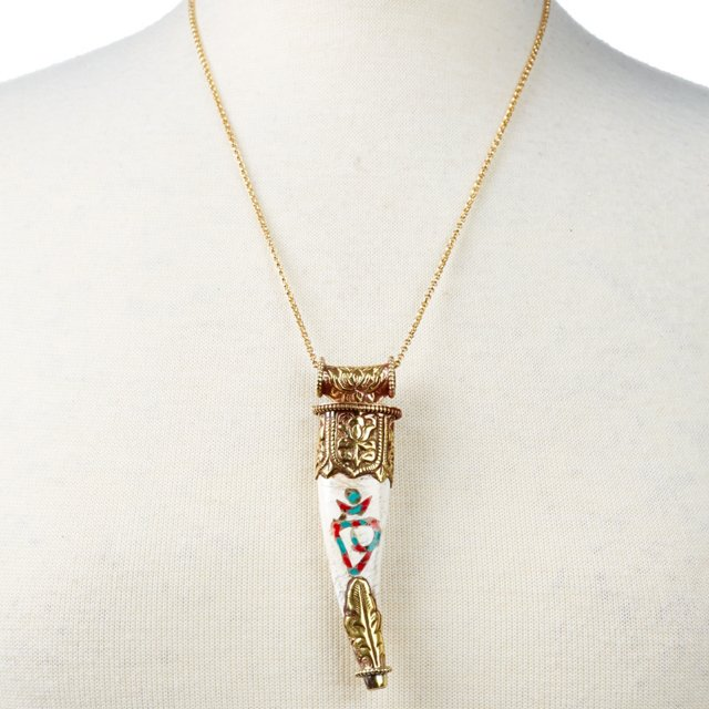 Turquoise, Coral & Shell Tusk Necklace