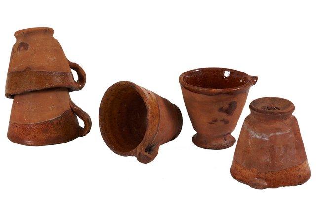 Dutch Antique Garden Pots, Set of 5