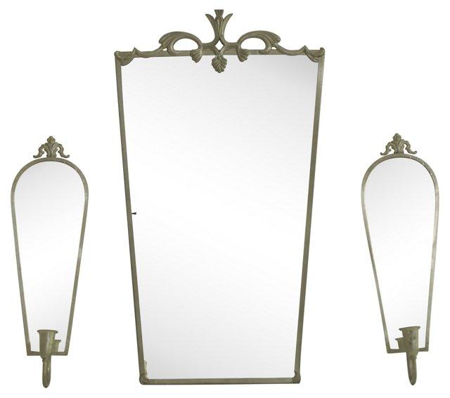 Swedish Mirror & Sconce Set, 3 Pcs.