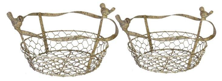 Asst of 2 Bird Baskets-disc