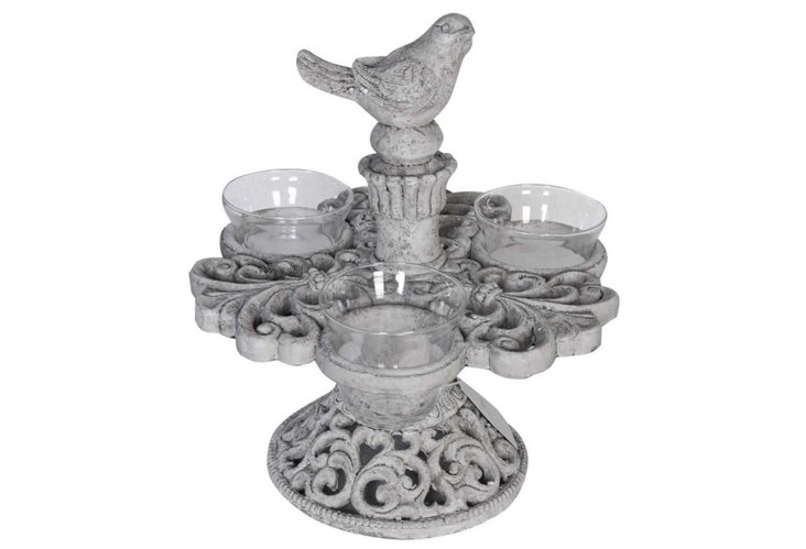 "24"" Bird Tea-Light Holder, Gray"