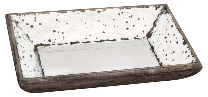 "13"" Rectangle Mirrored Tray, Brown"