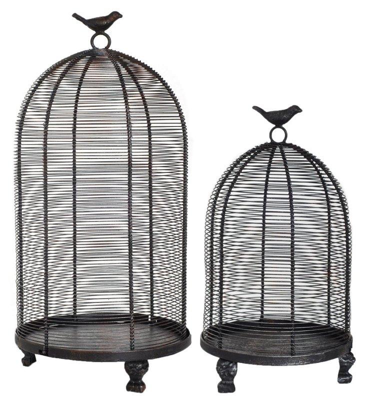 Asst. of 2 Finial Birdcages, Black