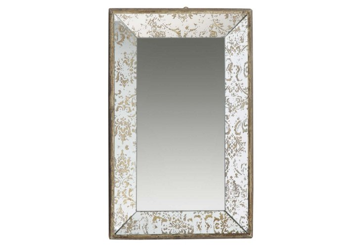 Antiqued Hangable Mirror Tray