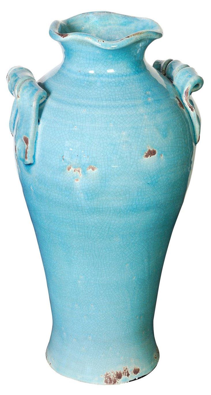 """16"""" Turquoise Ceramic Vase"""