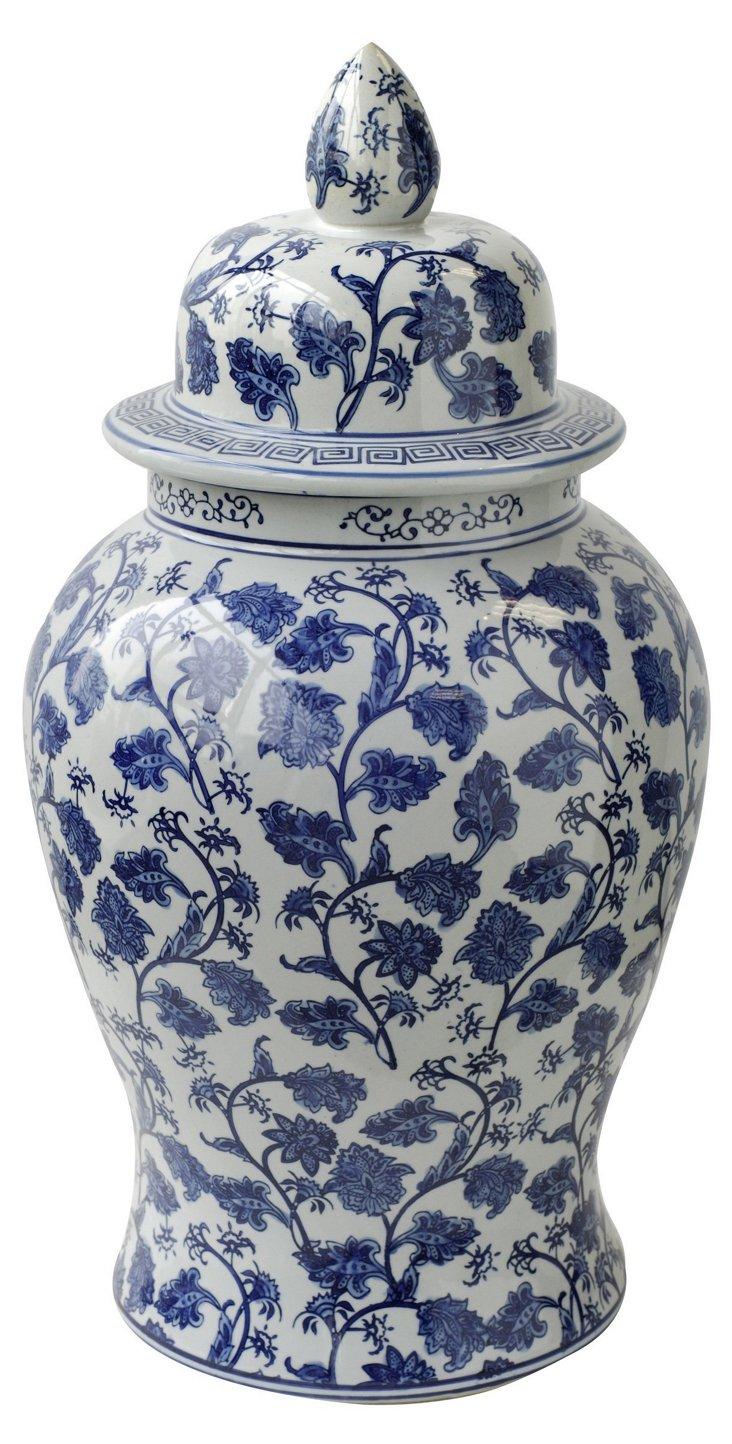 """24"""" Floral Lidded Jar, Blue/White"""