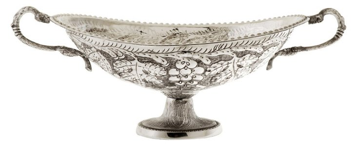 """18"""" Oval Bowl with Handles, Silver"""