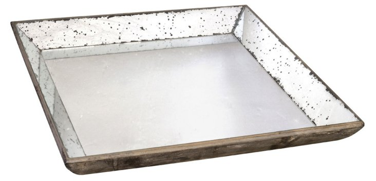 "24"" Mirrored Wood Tray"
