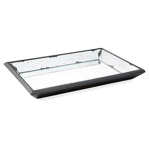 "20"" Rectangle Mirrored Wood Tray, Brown"