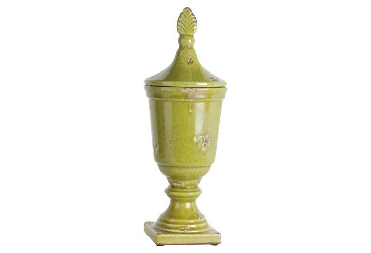 "18"" Decorative Ceramic Jar, Green"