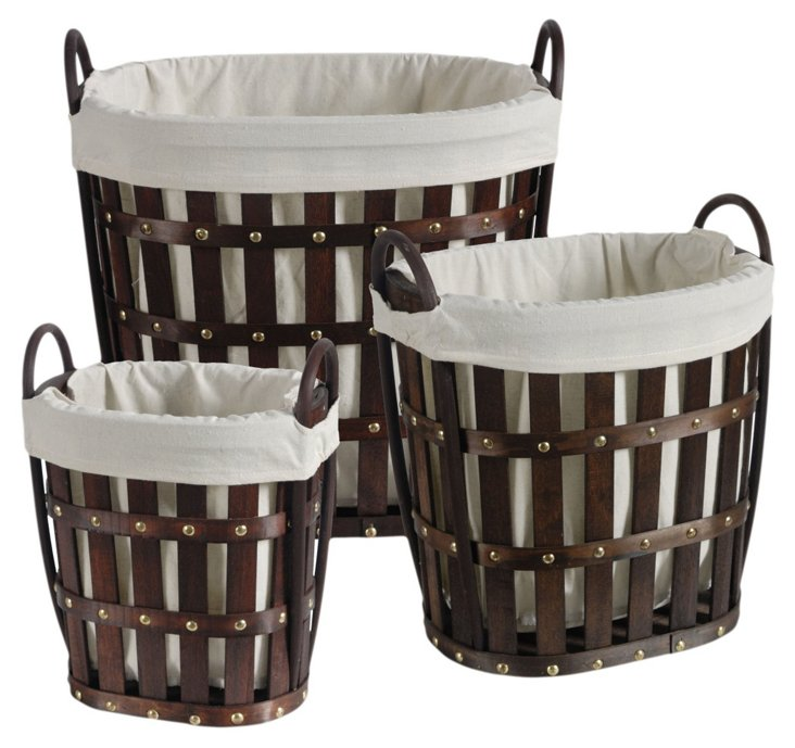 S/3 Lined Round Baskets