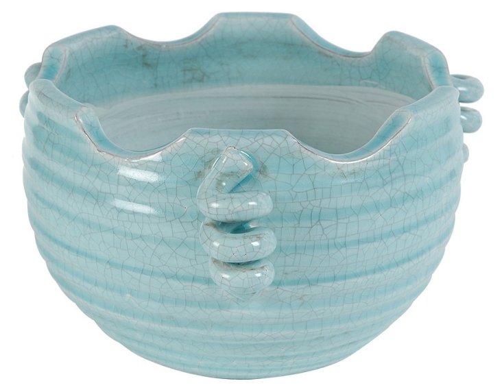 """12"""" Crackled Spiral Bowl"""